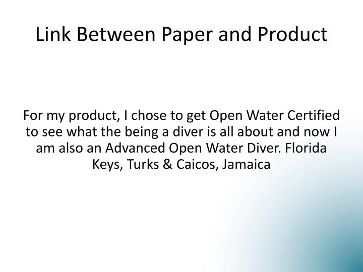 Link Between Paper and Product
