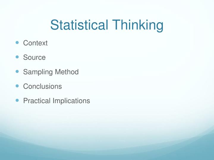 Statistical thinking1