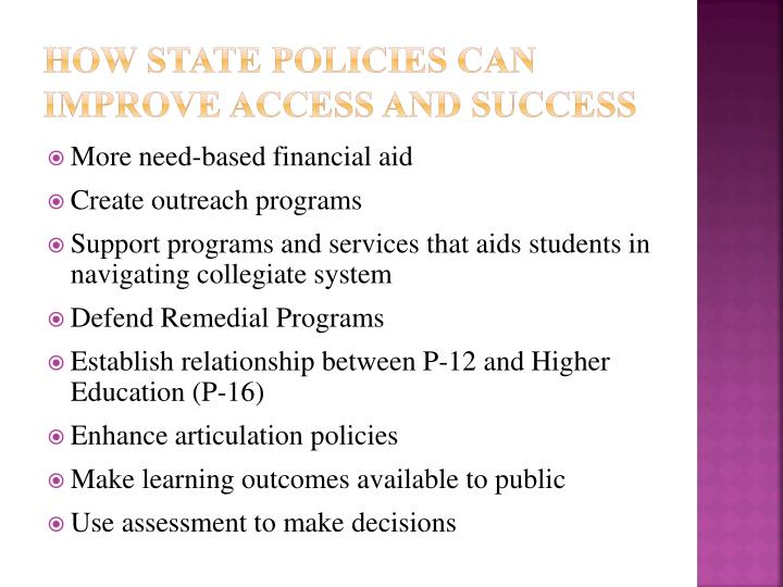 How State Policies Can Improve Access and Success