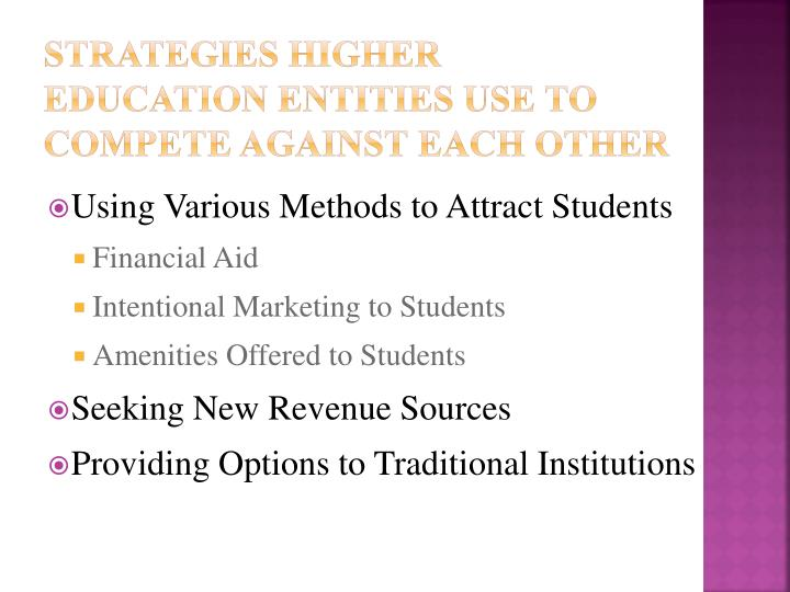 Strategies Higher Education Entities Use to Compete Against Each Other