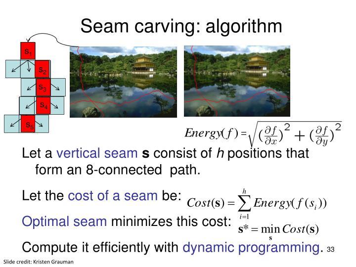 Seam carving: algorithm