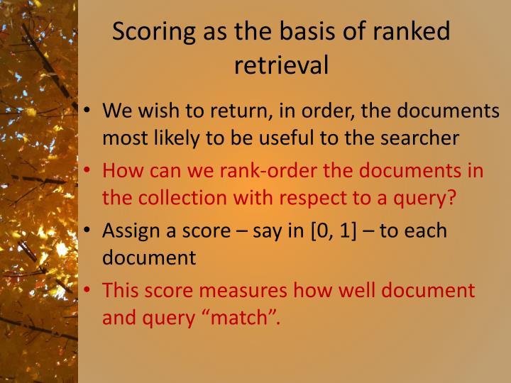 Scoring as the basis of ranked retrieval