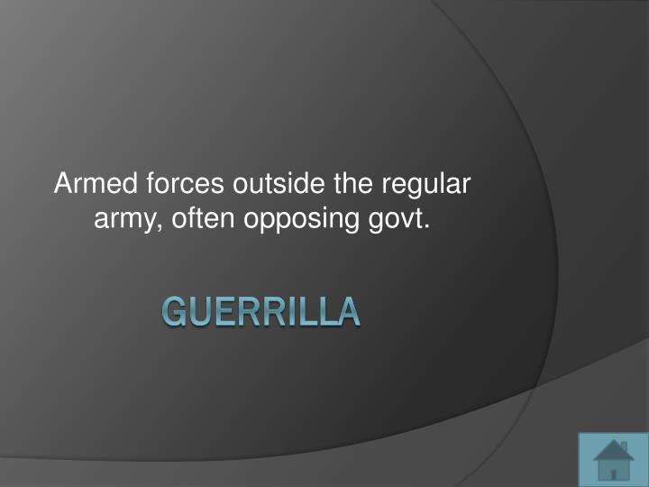 Armed forces outside the regular army, often opposing govt.