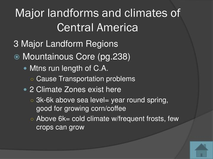 Major landforms and climates of Central America