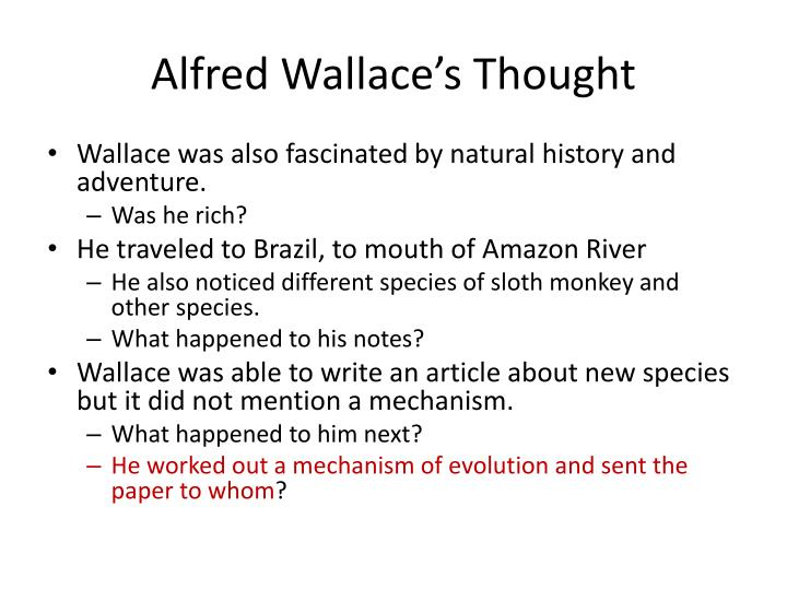 Alfred Wallace's Thought
