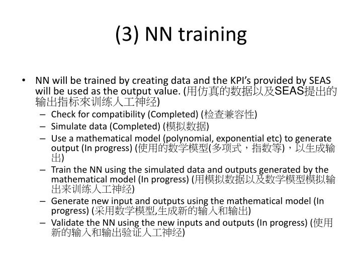 (3) NN training