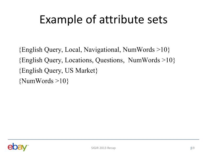 Example of attribute sets