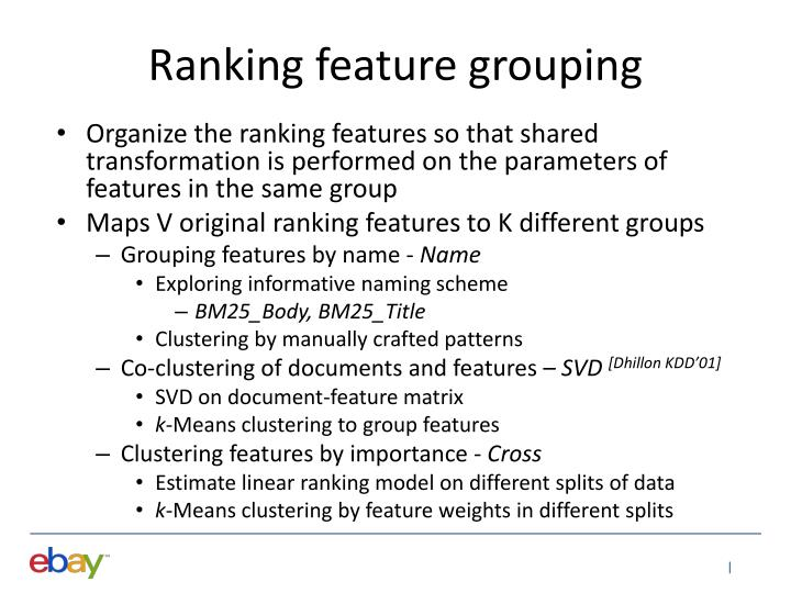 Ranking feature grouping