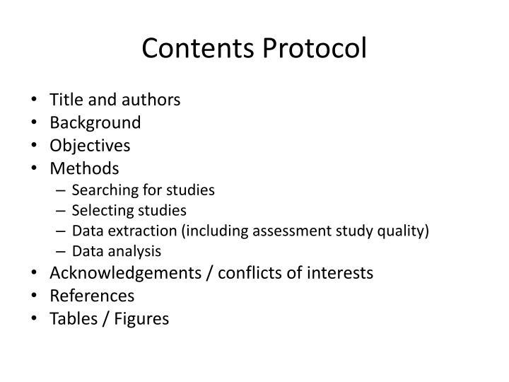 Contents Protocol