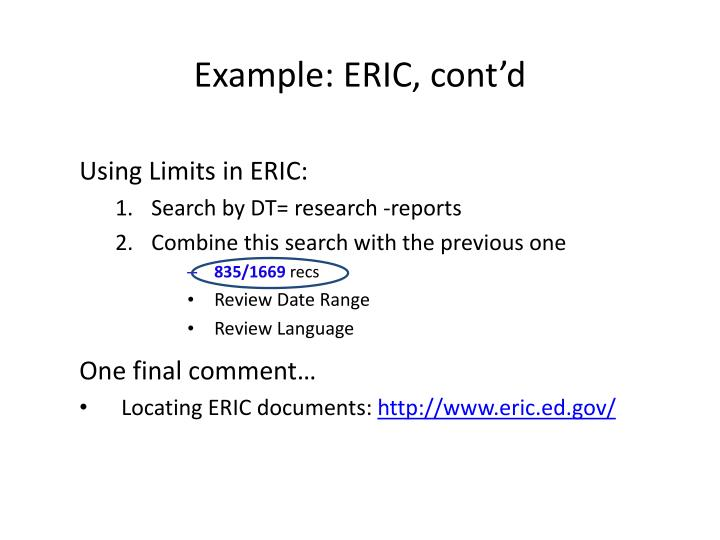 Example: ERIC, cont'd