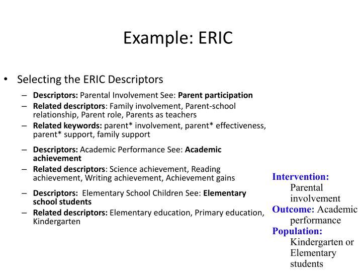 Example: ERIC