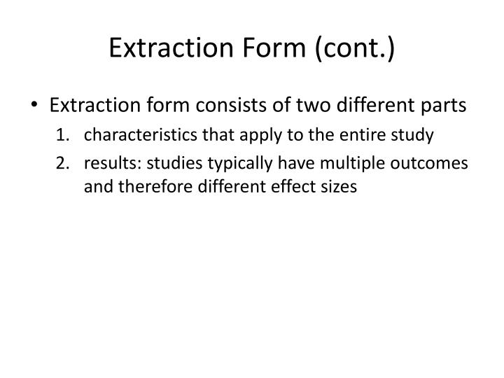 Extraction Form (cont.)