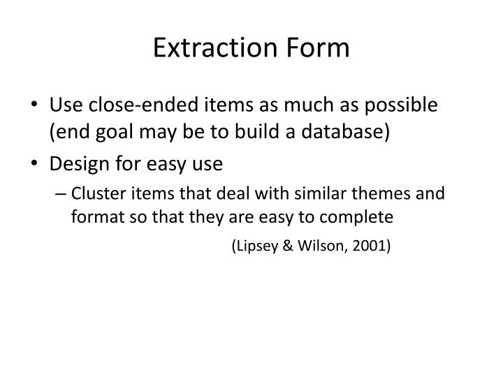 Extraction Form