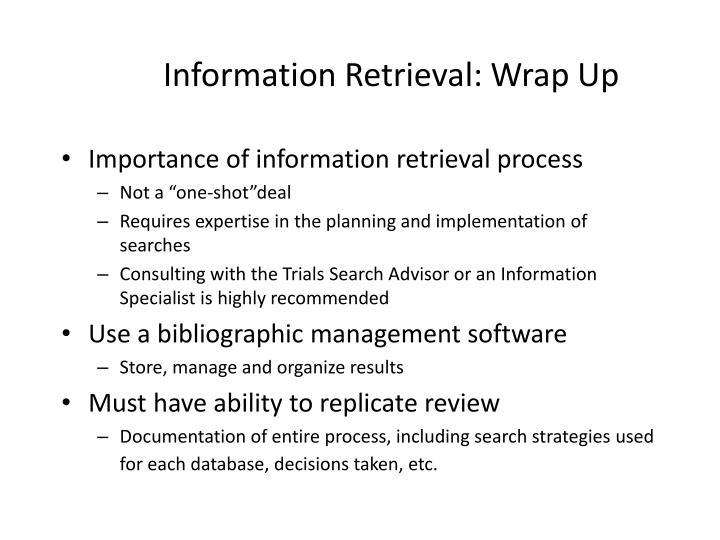Information Retrieval: Wrap Up