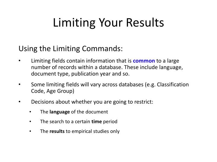 Limiting Your Results