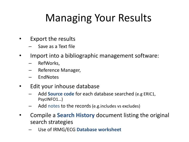 Managing Your Results