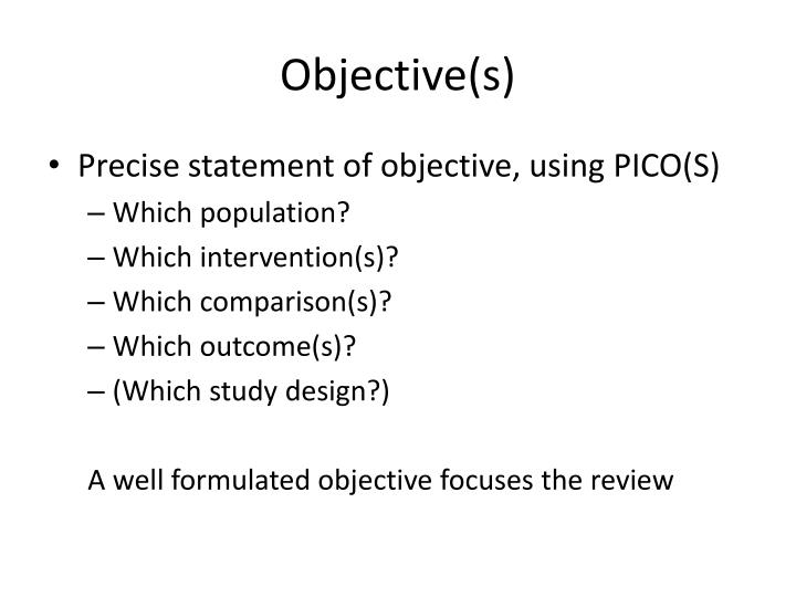 Objective(s)