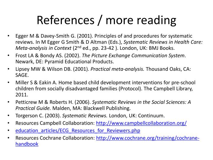 References / more reading