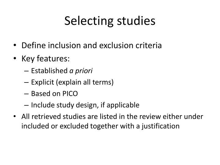 Selecting studies