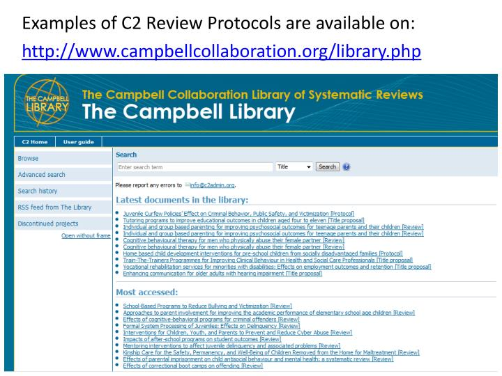 Examples of C2 Review Protocols are available on: