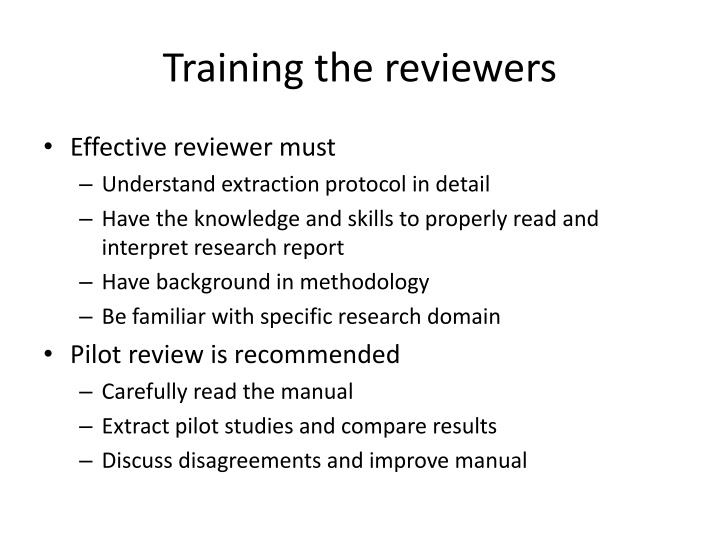 Training the reviewers