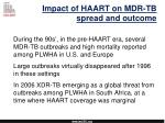 impact of haart on mdr tb spread and outcome