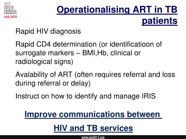 Operationalising ART in TB patients
