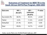 outcomes of treatment for mdr tb in the south african dots plus program 2002 2004