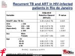 recurrent tb and art in hiv infected patients in rio de janeiro