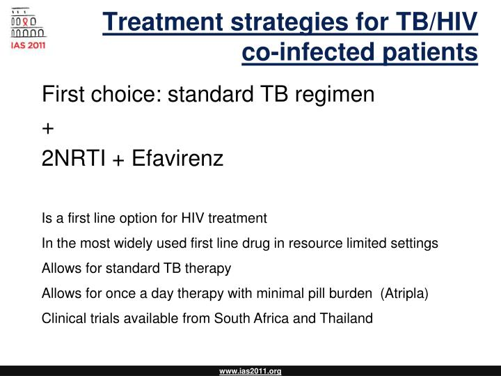 Treatment strategies for TB/HIV co-infected patients