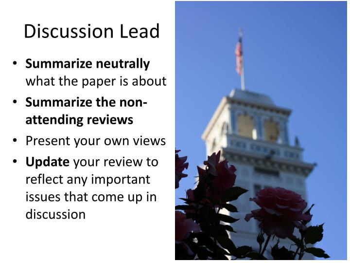 Discussion Lead