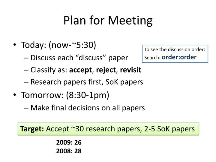 Plan for Meeting