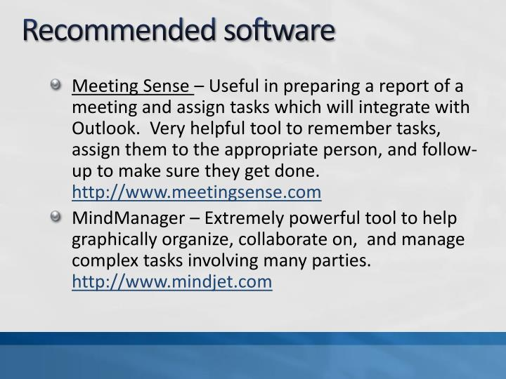 Recommended software