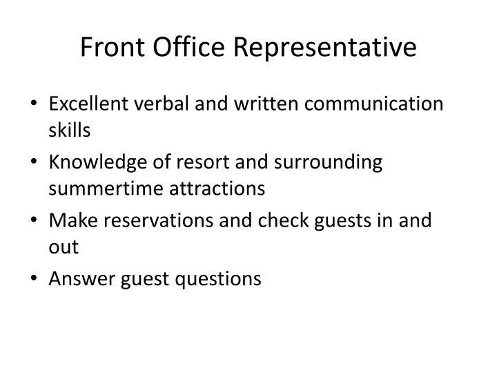 Front Office Representative