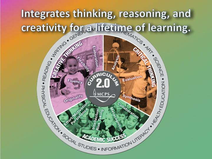Integrates thinking, reasoning, and creativity for a lifetime of learning.