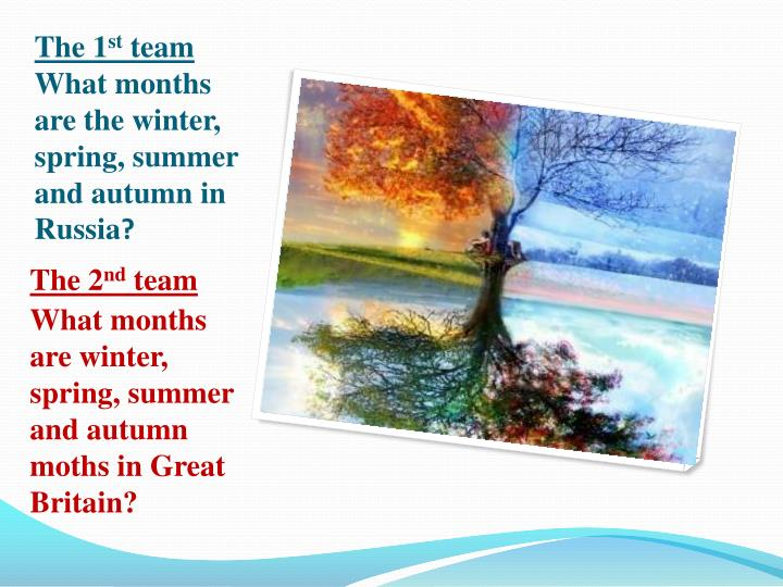 The 1 st team what months are the winter spring summer and autumn in russia