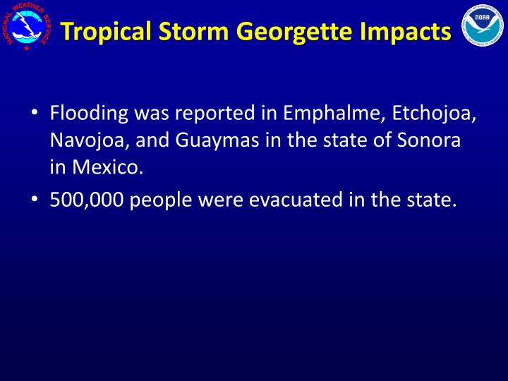 Tropical Storm Georgette Impacts