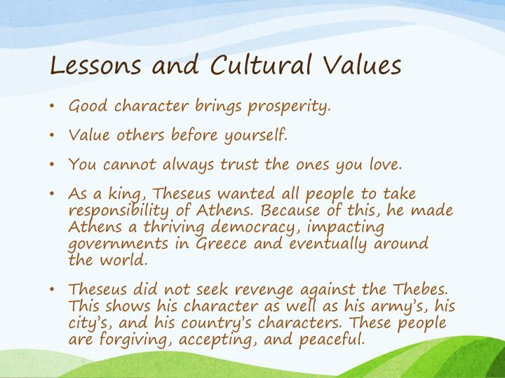 Lessons and Cultural Values
