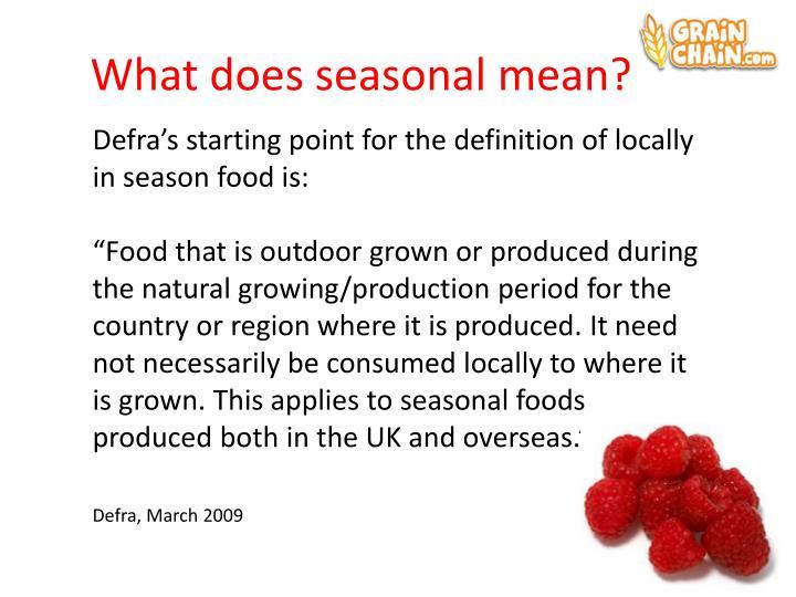 What does seasonal mean?