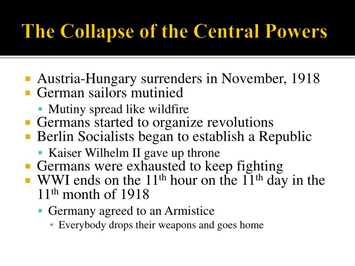 The Collapse of the Central Powers