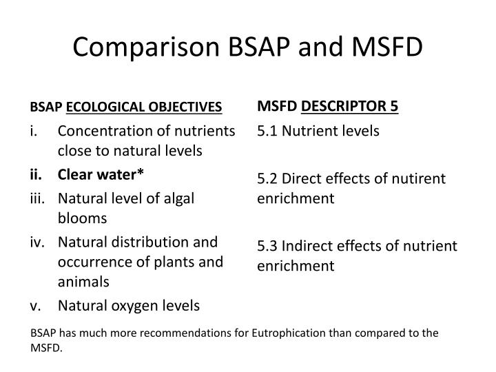 Comparison BSAP and MSFD