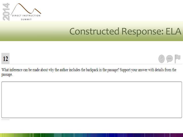 Constructed Response: ELA