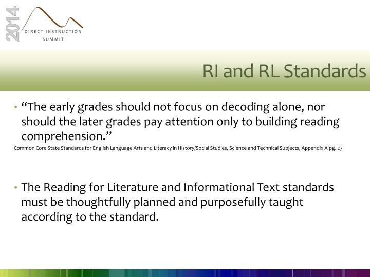 RI and RL Standards