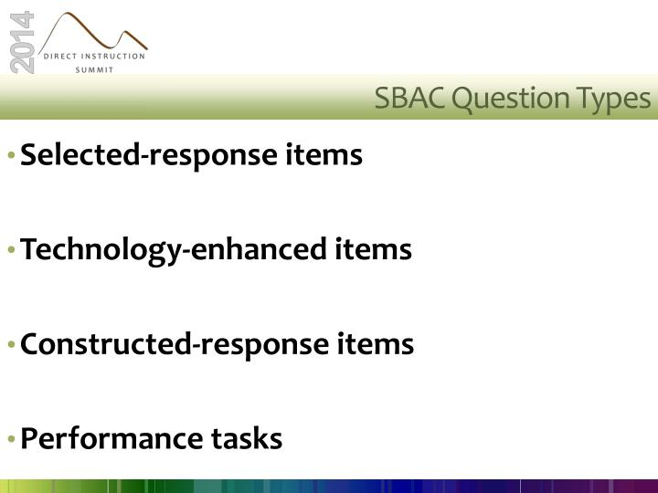 SBAC Question Types
