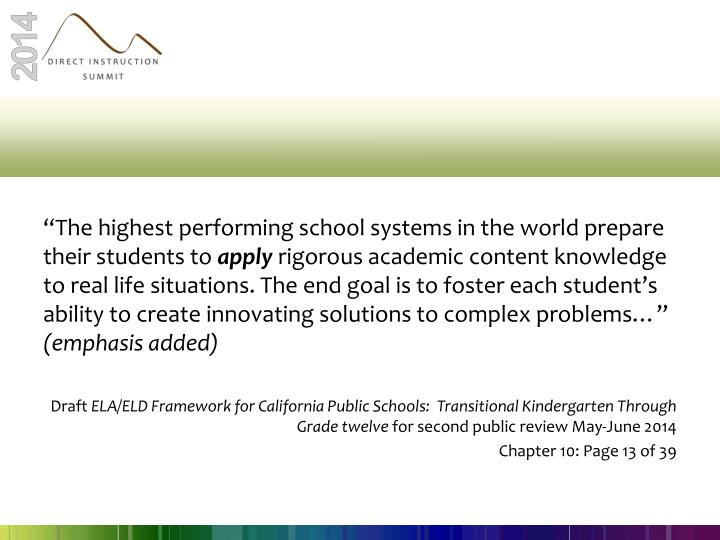 """""""The highest performing school systems in the world prepare their students to"""