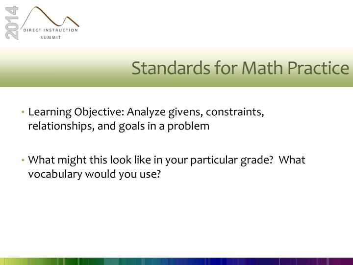 Standards for Math Practice