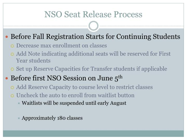Nso seat release process