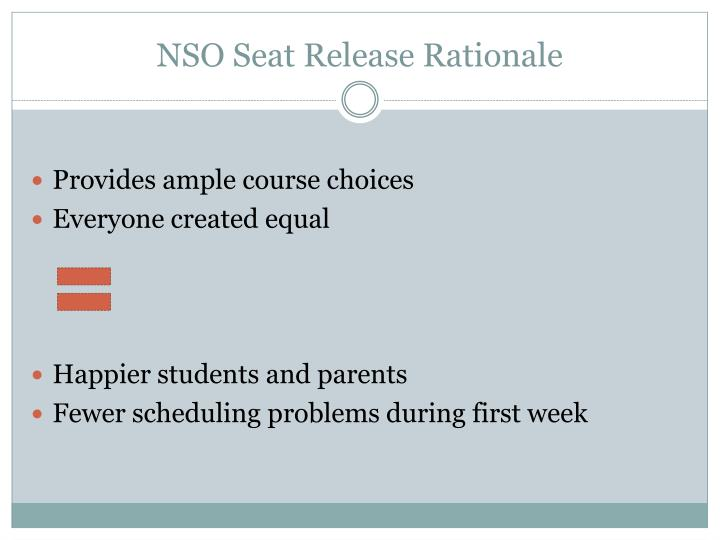 Nso seat release rationale