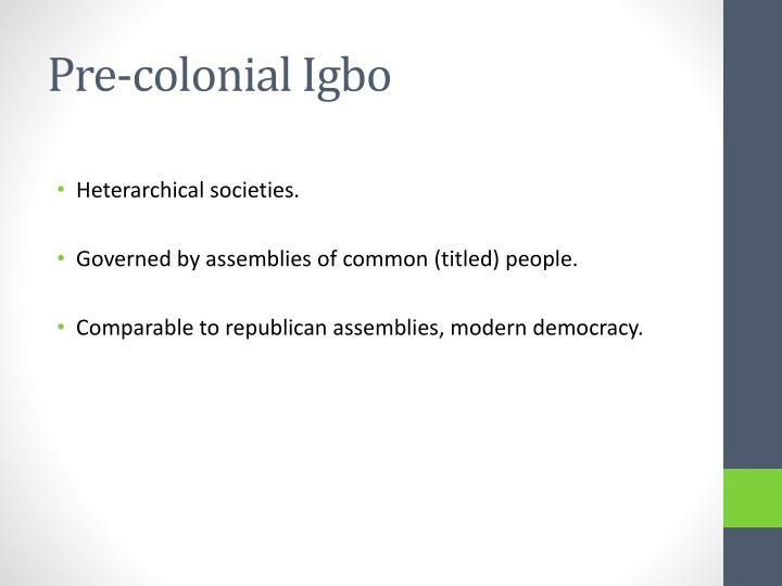 Pre-colonial Igbo