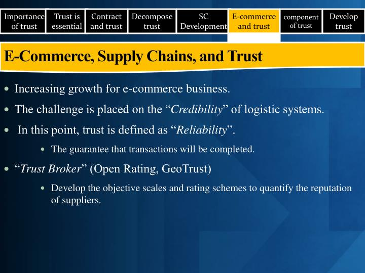 E-Commerce, Supply Chains, and Trust